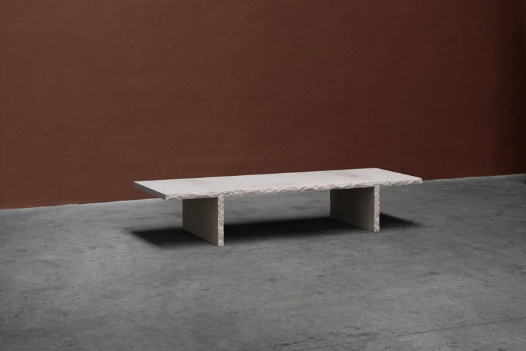Sculpted Bourgogne Stone Coffee Table, Fruste by Frederic Saulou For Sale 3