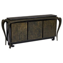 Sculpted Bronze Console Table and Cabinet by Paul Evans