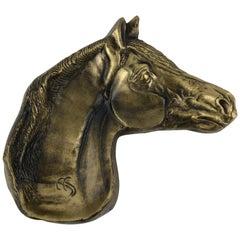 Sculpted Bronze Horse Head Key Holder or Vide Poche, Signed