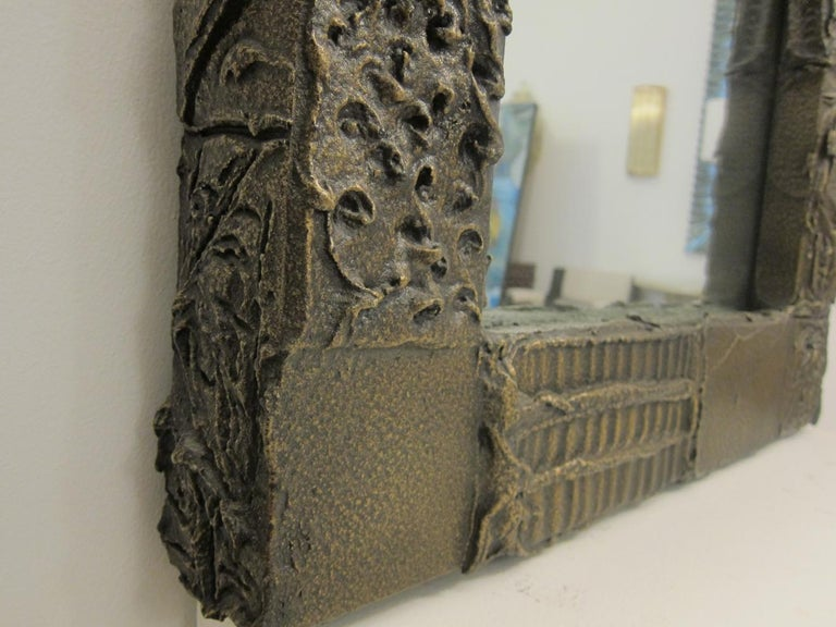 Sculpted Bronze Mirror and Wall Mounted Console by Paul Evans For Sale 5