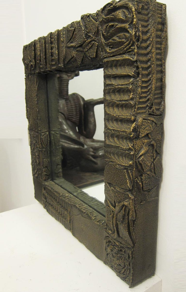Sculpted Bronze Mirror and Wall Mounted Console by Paul Evans For Sale 6