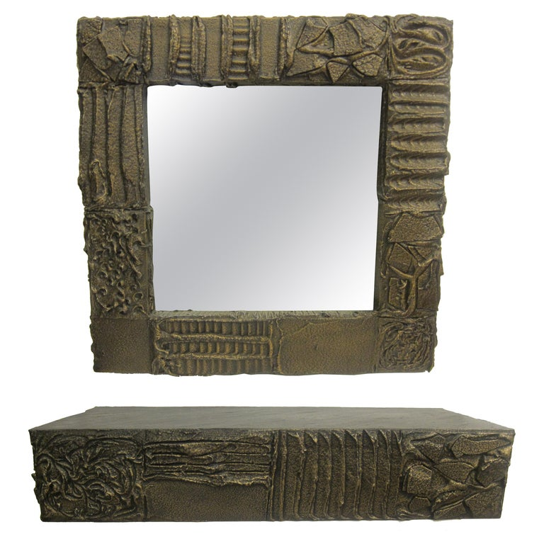 Sculpted Bronze Mirror and Wall Mounted Console by Paul Evans For Sale