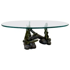 Sculpted Bronze Sea Creatures Coffee Table with a Chiseled Glass Top