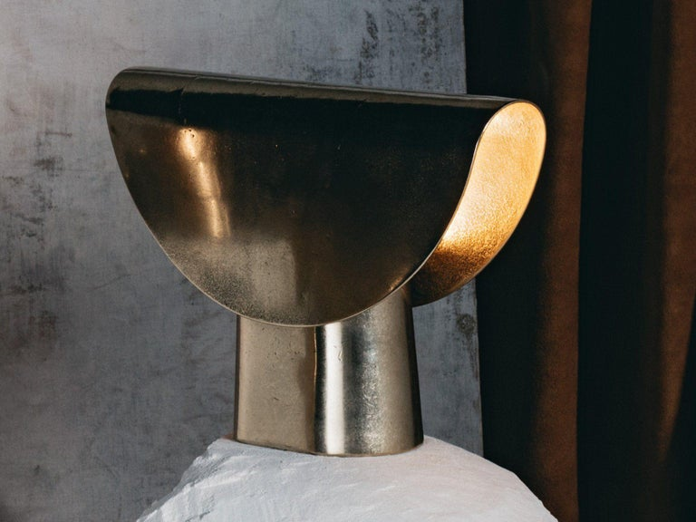 Modern Sculpted Bronze Table Lamp by Henry Wilson For Sale