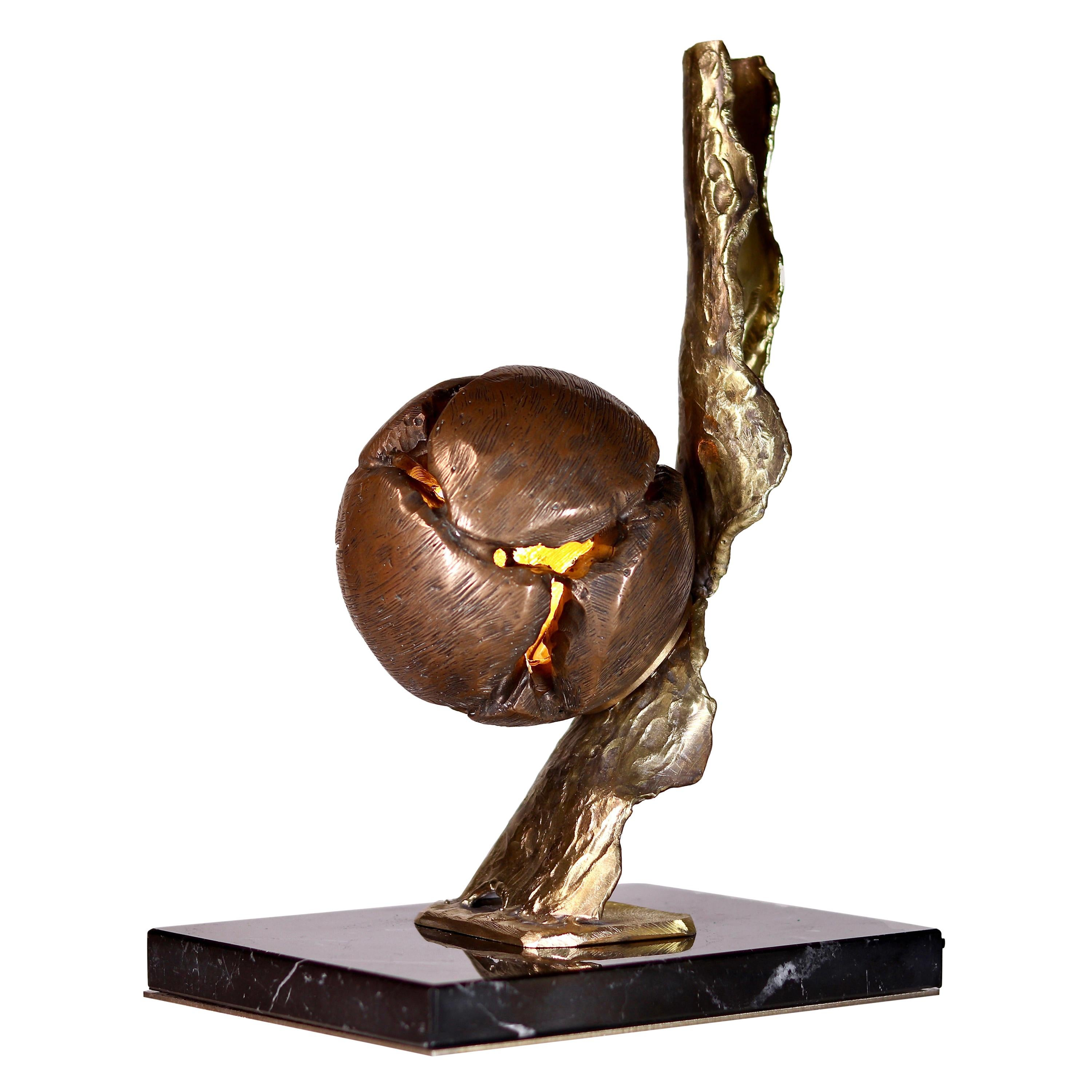 Sculpted Bronze Table Lamp by Samuel Costantini