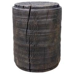 Sculpted Brutalist End Table 'CT-12' 'Solid Oak'