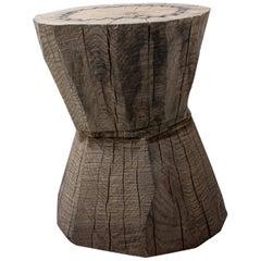 Sculpted Brutalist End Table 'CT-6' 'Solid Oak'