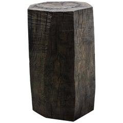 Sculpted Brutalist End Table 'CT-7' 'Solid Oak'