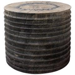 Sculpted Brutalist End Table 'CT-8' 'Solid Oak'