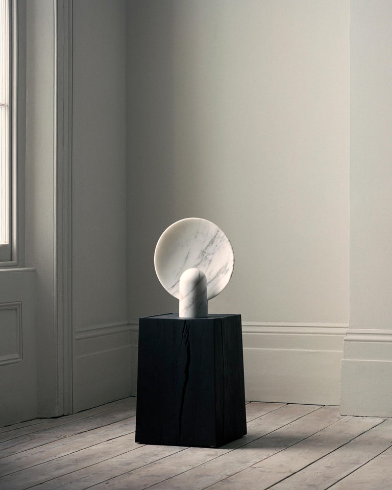 Contemporary Sculpted Calacatta Viola Marble Lamp by Henry Wilson For Sale
