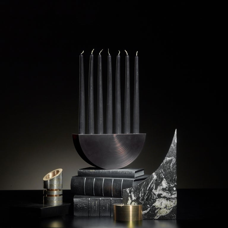 Play with fire limited candelabrum Signed William Guillon Limited Edition of 20 Signed and numbered Solid aluminium. Nickel smoke on copper. Brushed. Dimensions: H 13 cm x W 26.5 cm x D 6.5 cm Handsculpted in France  At the crossroads