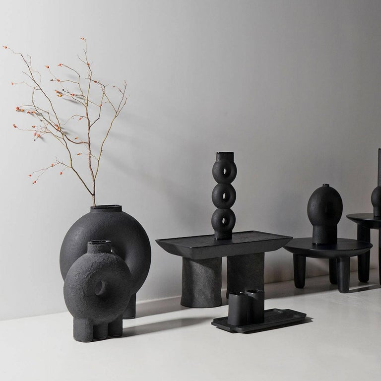 Contemporary Sculpted Ceramic Vase by FAINA For Sale