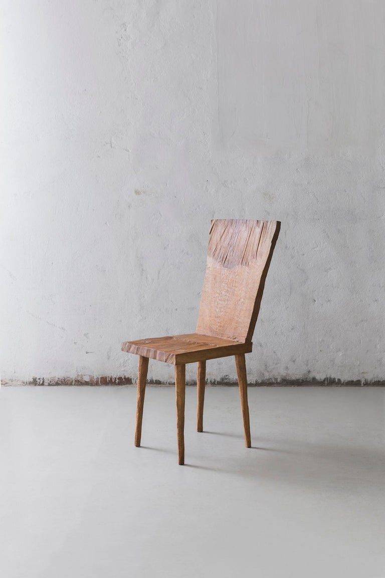 Chair made of solid oak (+ linseed oil) (Outdoor use OK)  Measures: Seat height 45 cm  Warm furniture's made by Russian designer Denis Milovanov from