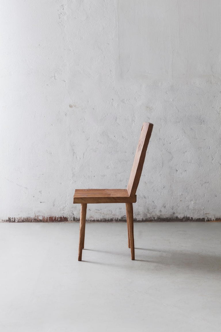 Brutalist Sculpted Chair N2 in Solid Oak Wood For Sale