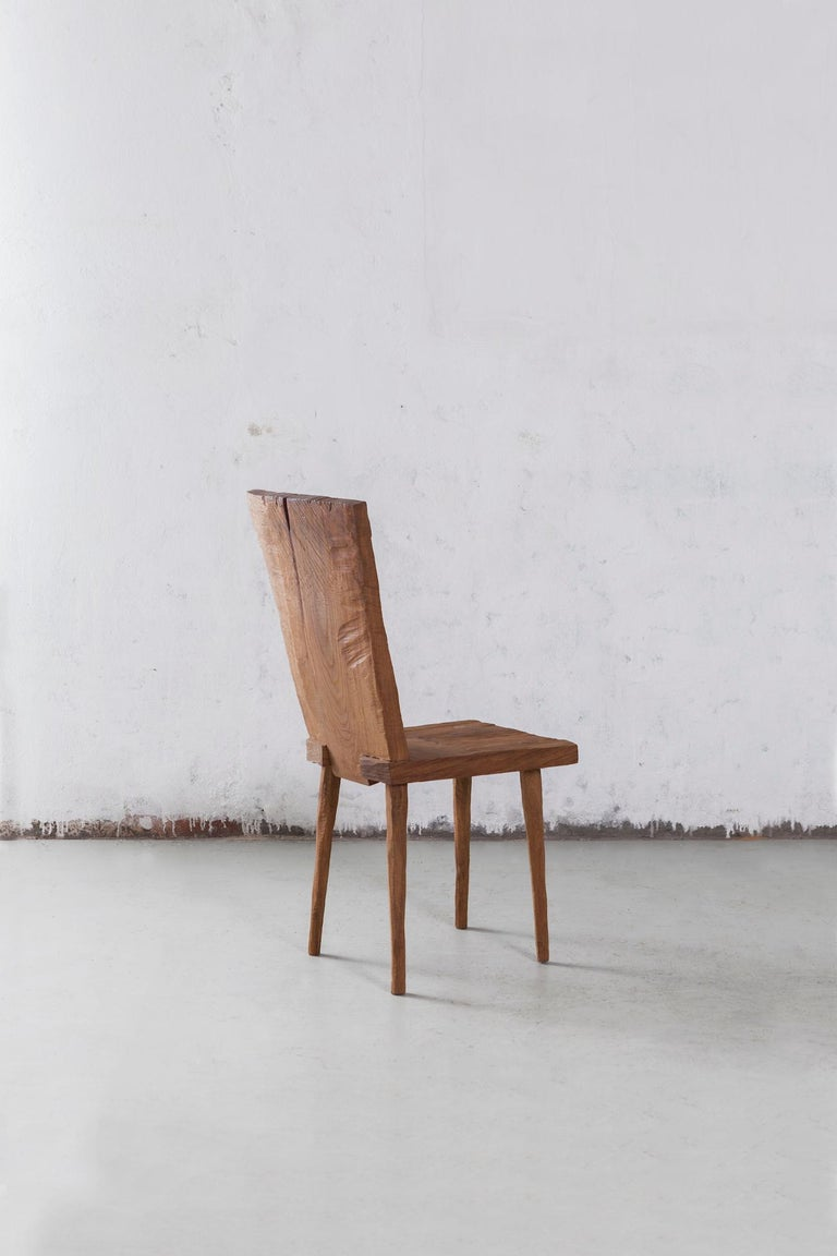 Russian Sculpted Chair N2 in Solid Oak Wood For Sale