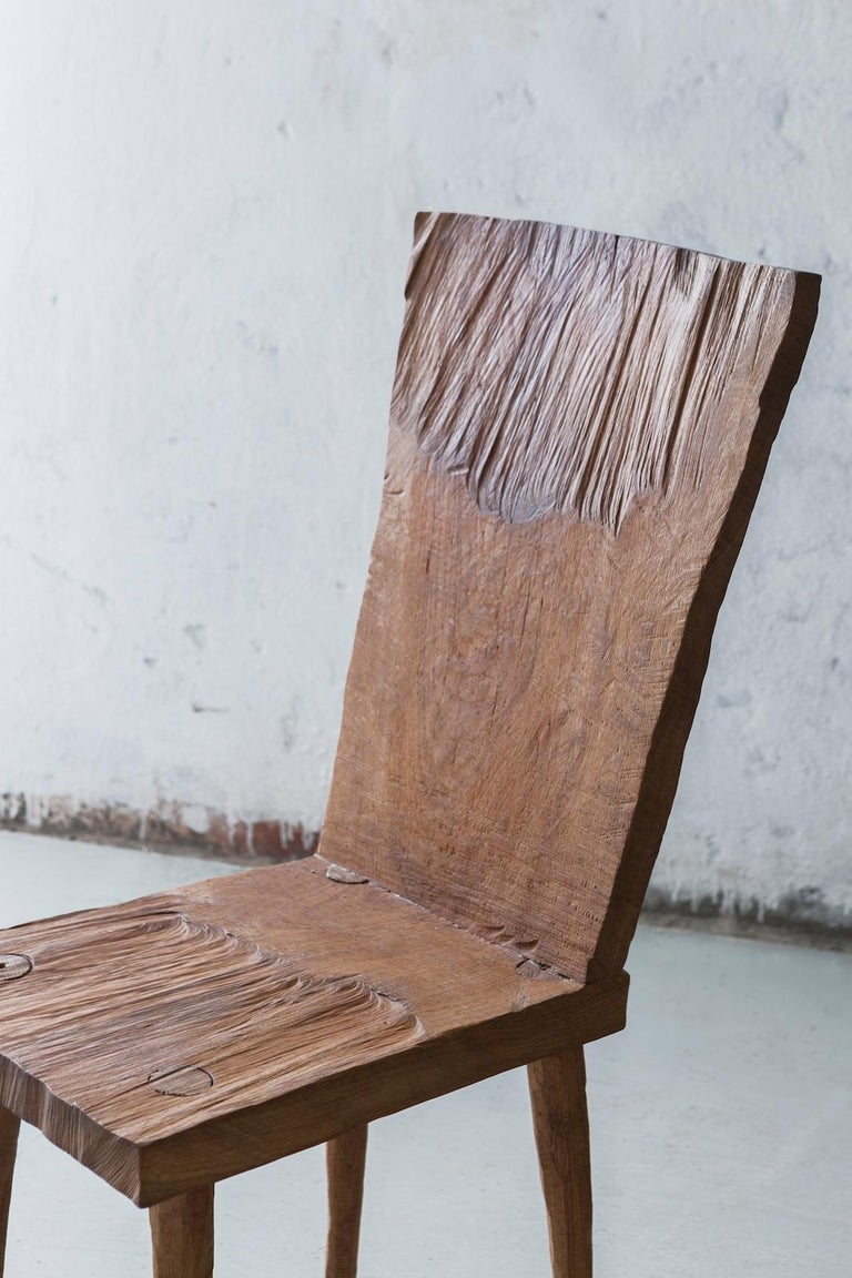 Contemporary Sculpted Chair N2 in Solid Oak Wood For Sale