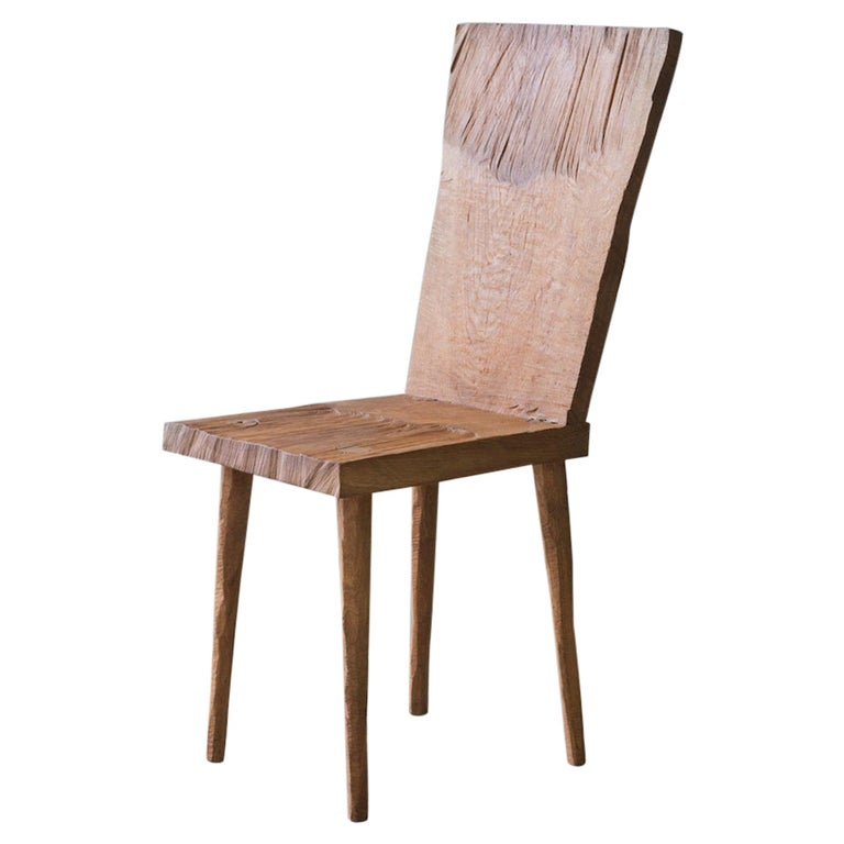 Sculpted Chair N2 in Solid Oak Wood For Sale