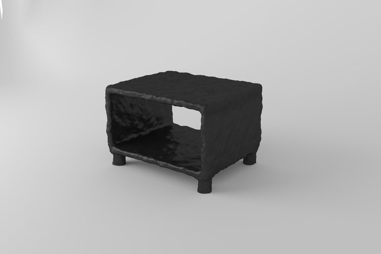 Sculpted contemporary coffee table by Victoria Yakusha Design: Victoriya Yakusha Material: steel, flax rubber, biopolymer, cellulose Dimensions and weight Length 50 x height 35 x width 40 cm. Weight: 20 kilos.  Other side tables from the same
