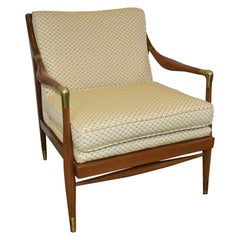 Sculpted Danish Brass Accented Lounge Chair Attributed To IB Kofod-Larsen, 1960s
