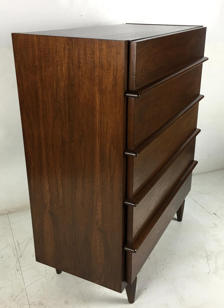 Mid-20th Century Sculpted Dimensional Front Walnut Dresser by Merton Gershun For Sale
