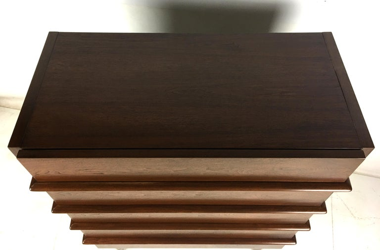 Sculpted Dimensional Front Walnut Dresser by Merton Gershun For Sale 1