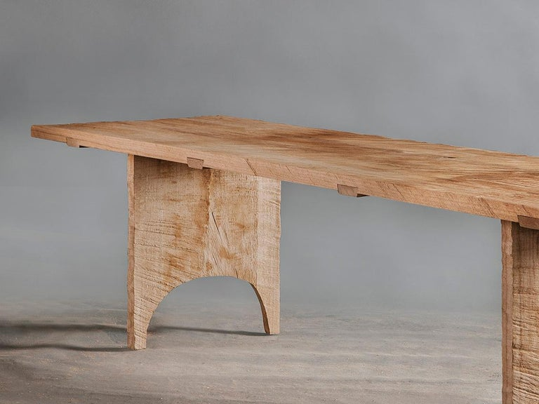 Brutalist Sculpted Dining Table in Solid Oakwood 'Custom Size' For Sale