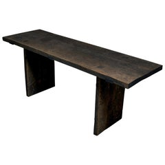 Sculpted Dining Table in Solid Oakwood 'Rustic Style', Custom Size