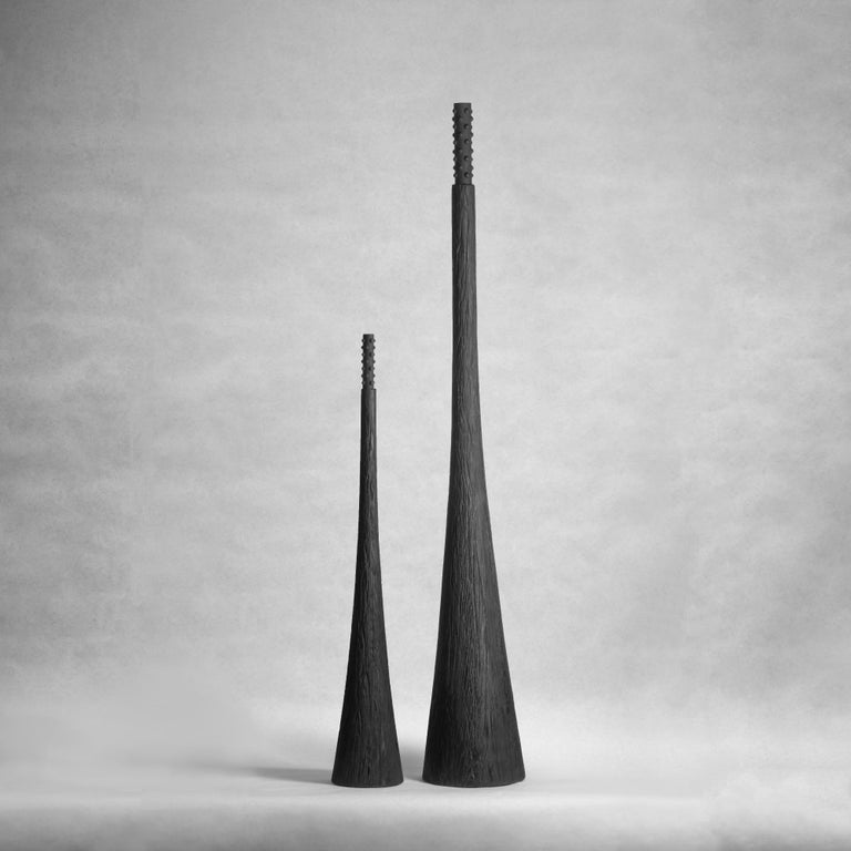 """Sculpted Floor Decor Vases by Victoria Yakusha Design: Victoriya Yakusha Material: clay, wood Dimensions:  Tall: H. 150cm  Small: H.90 cm Weight: 40 kilos.  Made in the style of ethnic minimalism, the collection items introduce """"naive design""""−"""