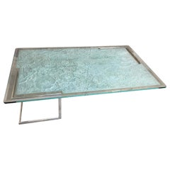 Sculpted Glass Top Coffee Table by Joan R. Hathaway