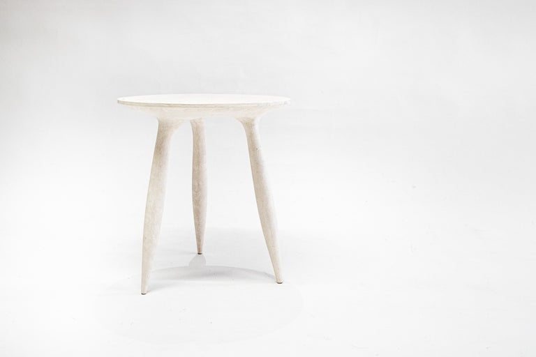 Sculpted gueridon by Cedric Breisacher Dimensions: D 38 x H 60 cm Materials: Sycamore wood, Moon white finish  H available: 40, 45, 60 cm  Stool or occasional table, the BTRFL is a piece in the line minimal. In a way, it takes up the