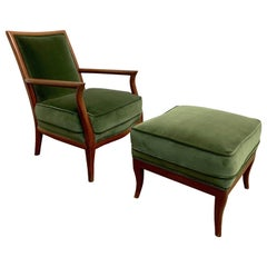 Sculpted Italian Style Lounge Chair and Ottoman