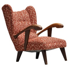 Sculpted Lounge Chair in Red Floral Upholstery and Walnut