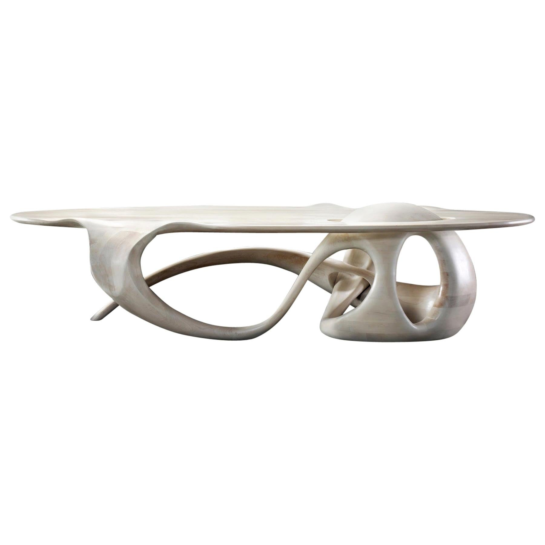Sculpted Maple Coffee Table Signed by Gildas Berthelot