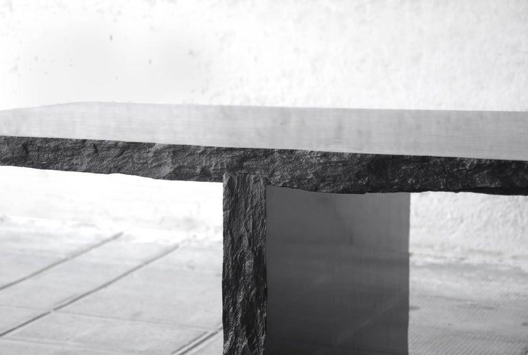 Sculpted Marble Slate Coffee Table, Fruste by Frederic Saulou For Sale 4