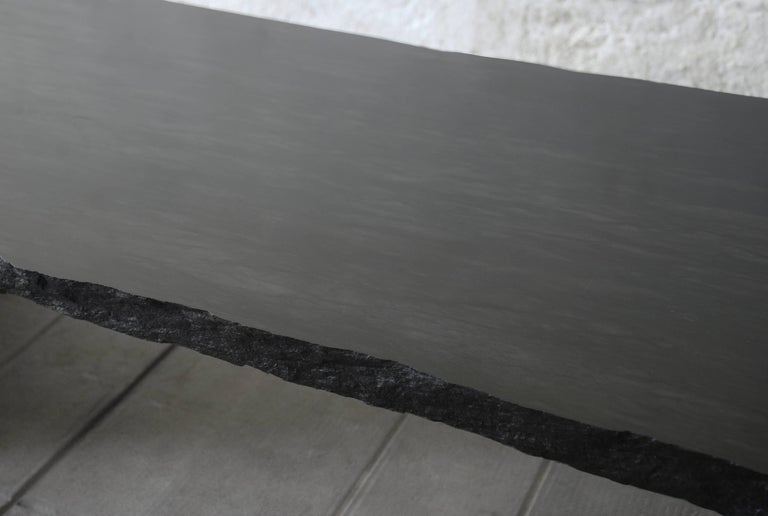 French Sculpted Marble Slate Coffee Table, Fruste by Frederic Saulou For Sale