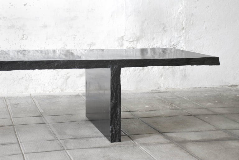 Sculpted Marble Slate Coffee Table, Fruste by Frederic Saulou In New Condition For Sale In Geneve, CH