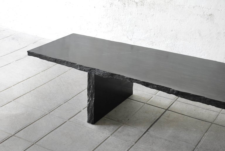 Sculpted Marble Slate Coffee Table, Fruste by Frederic Saulou For Sale 1