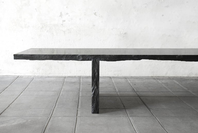Sculpted Marble Slate Coffee Table, Fruste by Frederic Saulou For Sale 3