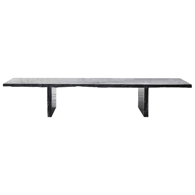 Sculpted Marble Slate Coffee Table, Fruste by Frederic Saulou For Sale