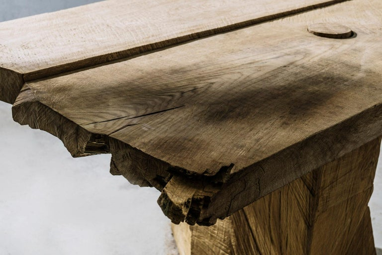 Sculpted Massive Dining Table in Solid Oakwood 'Custom Size' For Sale 5