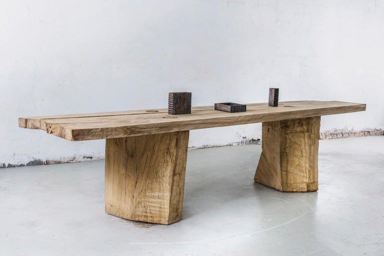 Brutalist Sculpted Massive Dining Table in Solid Oakwood 'Custom Size' For Sale