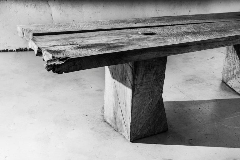 Sculpted Massive Dining Table in Solid Oakwood 'Custom Size' For Sale 3