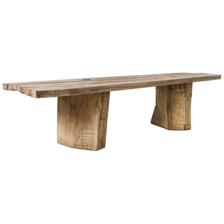 Sculpted Massive Dining Table in Solid Oakwood 'Custom Size' For Sale