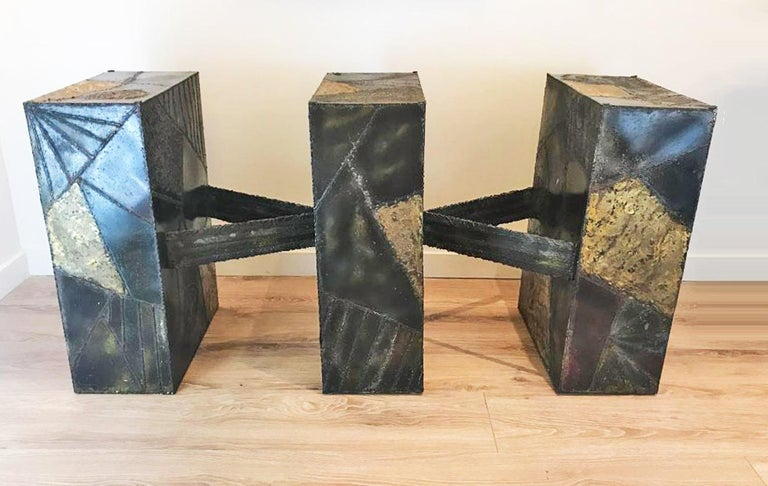 Paul Evans for Directional sculpted metal dining table, circa 1970. Sculptural base, executed in welded and polychromed steel. Base size: 29