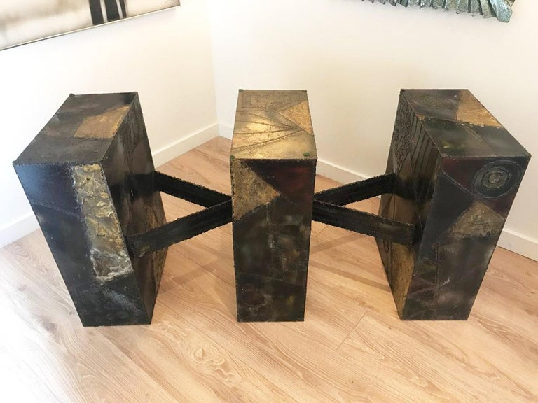 Sculpted Metal Dining Table by Paul Evans for Directional In Good Condition In Miami, FL