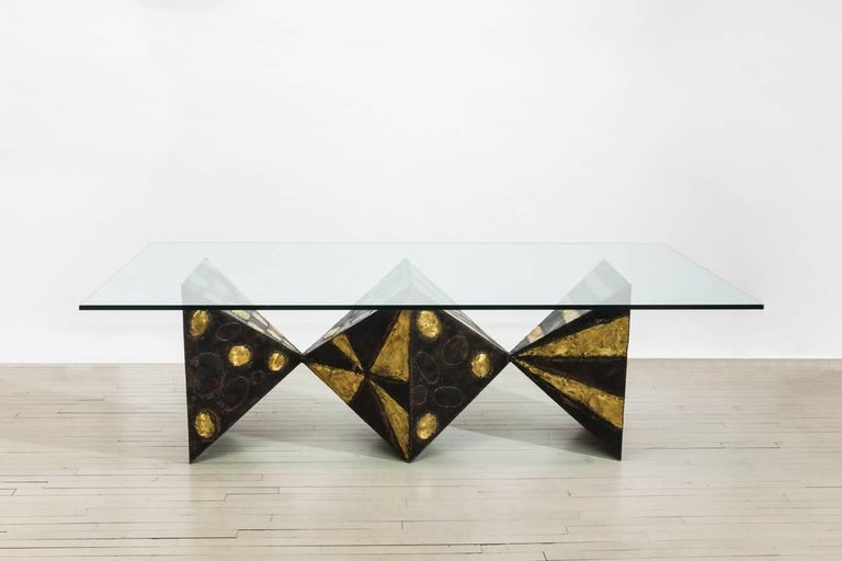 Mid-Century Modern Sculpted Metal Dining Table (no. PE21) For Sale