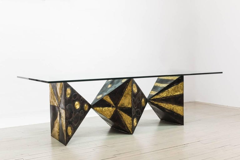 North American Sculpted Metal Dining Table (no. PE21) For Sale
