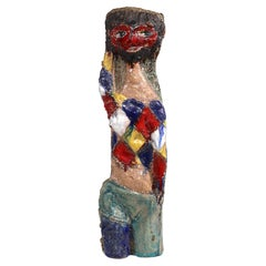 Sculpted Mid Century Italian Ceramic Vase by Marcello Fantoni