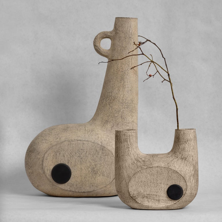 Sculpted Pair of Ceramic Vases by FAINA 9