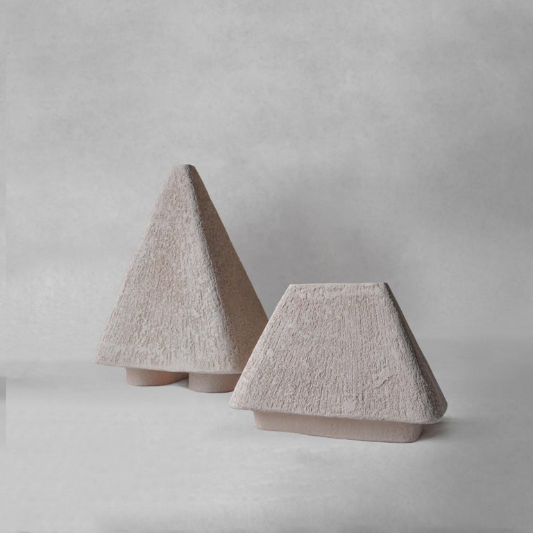 Organic Modern Sculpted Pair of Ceramic Vases by Victoria Yakusha For Sale